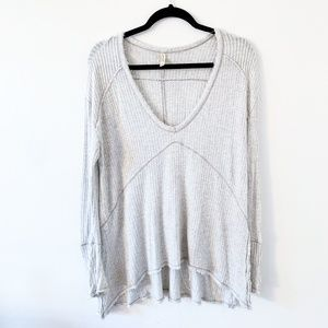 Gray Free People Distressed V Neck Thermal Top